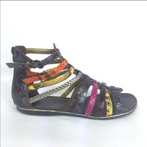 Shoes - Multi colored gladiator sandals zip back sz 7